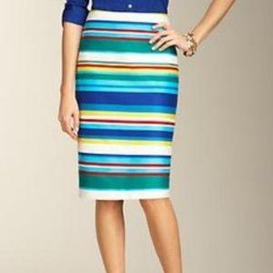 Talbots Rainbow Cotton Zip Pencil Skirt